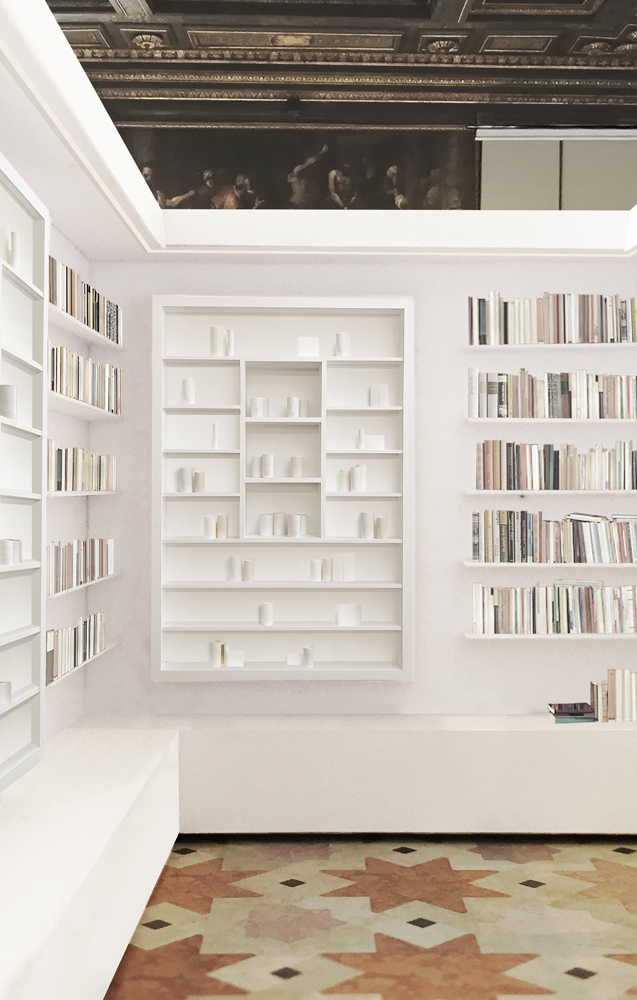 Visual of the proposed installation in the Ateneo Veneto © Edmund de Waal. Courtesy the artist.