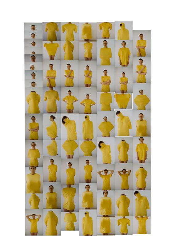 "Erwin Wurm, ""Untitled (Yellow Pullovers), 1998"" (2019). 67 C-prints, mounted on carton, 140 x 100 cm. Photograph: Tadzio © Erwin Wurm"