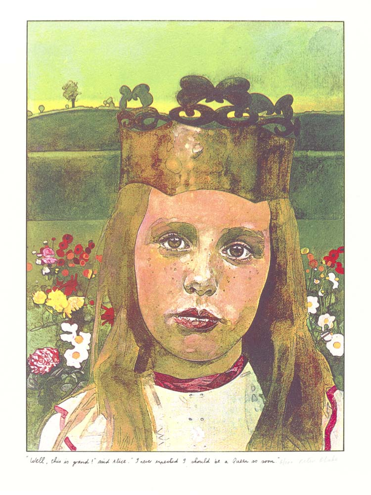 Print by Peter Blake from a suite illustrating 'Through the Looking Glass and What Alice Found There'. 1970. © Peter Blake. All rights reserved, DACS 2019