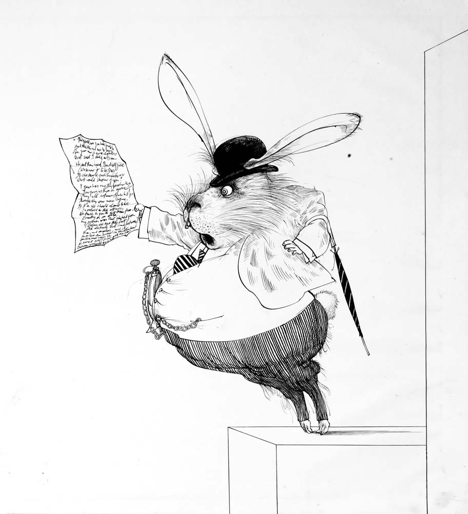 Original drawing for Alice in Wonderland of the White Rabbit, 1967 © Ralph Steadman Art Collection, 2019. All rights reserved.