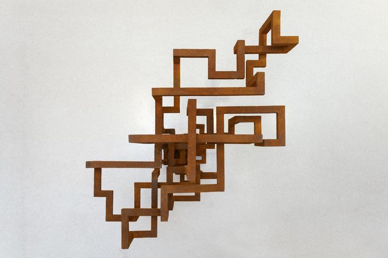 "Antony Gormley, ""OPEN"" (2019). Cast iron 115.2 x 67 x 60.5 cm. Installation view, Galerie Thaddeus Ropac, Marais, Paris, France, 2020. Photograph by Charles Duprat © the artist"