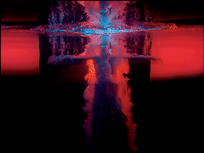 "Bill Viola, ""Fire Angel"", panel 3 from Five Angels for the Millennium, 2001 Video/sound installation Performer: Josh Coxx Courtesy Bill Viola Studio Photo: Kira Perov Exhibition organised by the Royal Academy of Arts, London in partnership with Royal Collection Trust and with the collaboration of Bill Viola Studio"
