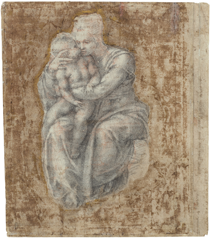 Michel-Ange, The Virgin and Child, c. 1540-45 Black chalk over red chalk, silhouetted by a later hand, 22.5 x 19.4 cm Royal Collection Trust / © Her Majesty Queen Elizabeth II 2019 Exhibition organised by the Royal Academy of Arts, London in partnership with Royal Collection Trust and with the collaboration of Bill Viola Studio