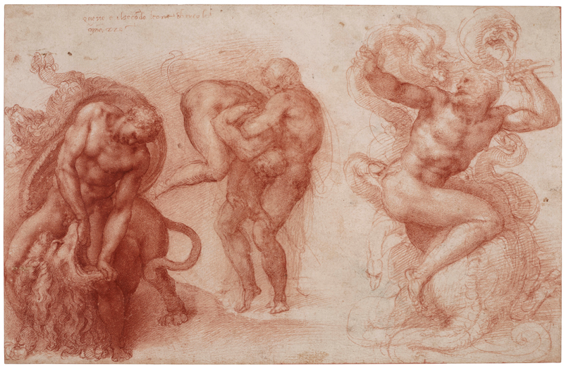 Michel-Ange, Three Labours of Hercules, c. 1530 Red chalk, 27.2 x 42.2 cm Royal Collection Trust / © Her Majesty Queen Elizabeth II 2019 Exhibition organised by the Royal Academy of Arts, London in partnership with Royal Collection Trust and with the collaboration of Bill Viola Studio