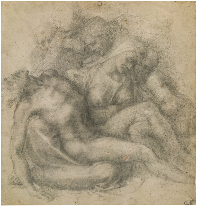 Michel-Ange, The Lamentation over the Dead Christ, c. 1540 Black chalk, 28.1 x 26.8 cm The British Museum, London. Exchanged with Colnaghi, 1896, 1896,0710.1 © The Trustees of the British Museum