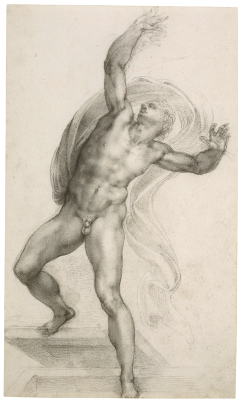 Michel-Ange, The Risen Christ, c. 1532-3 Black chalk on paper, 37.2 x 22.1 cm Royal Collection Trust / © Her Majesty Queen Elizabeth II 2019