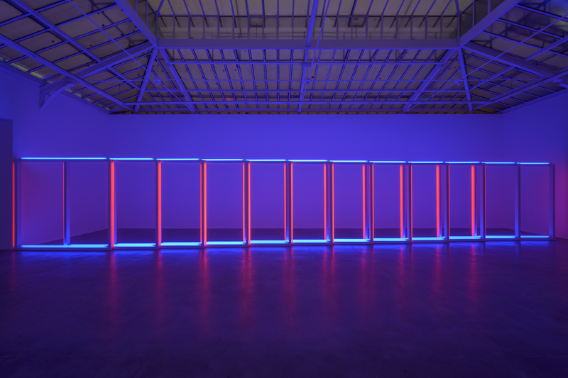 Installation view of Dan Flavin at David Zwirner Paris. November 30, 2019–February 1, 2020. Photography by Charles Duprat © 2019 Stephen Flavin / Artists Rights Society (ARS), New York. Courtesy David Zwirner