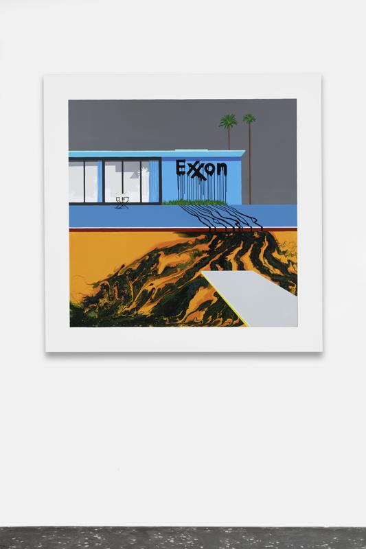 """Zevs, """"Oil Painting Exxon Grey/Orange"""" (2015). Photo: Aurélien Mole. Courtesy the Artist and New Galerie, Paris"""