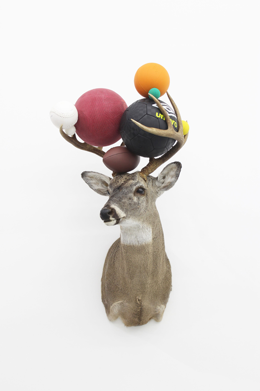 """Gabriel Rico, """"III"""", from the series """"Excessive butter"""" (2019). Taxidermy, balls. 95 x 60 x 65 cm © Diego G. Argüelles / Courtesy of the artist andPerrotin"""