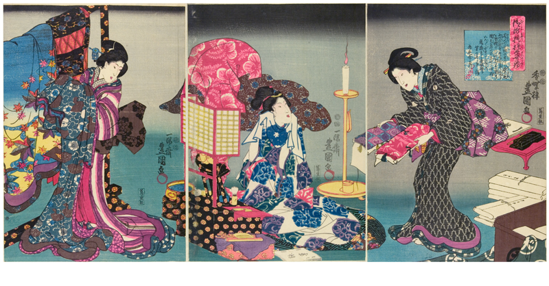 Fashionable brocade patterns of the Imperial Palace, woodblock print, made by Utagawa Kunisada, 1847-1852, Japan. Museum no. Circ.636 to Circ. 638– 1962. © Victoria and Albert Museum, London