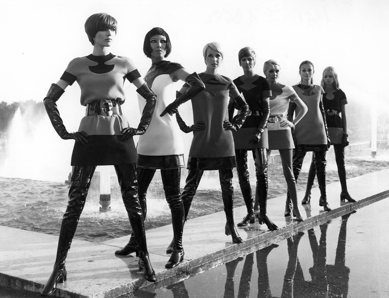 Pierre Cardin two-tone jersey dresses, with vinyl waders (1969). Photo: Yoshi Takata. © Pierre Pelegry