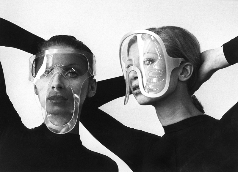 Pierre Cardin vinyl eyewear (1970). Photo: Courtesy of Archives Pierre Cardin. © Archives Pierre Cardin