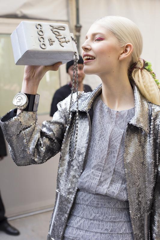 Model with Lait de Coco Evening Bag, Karl Lagerfeld, 2014 (c) Jason Lloyd Evans