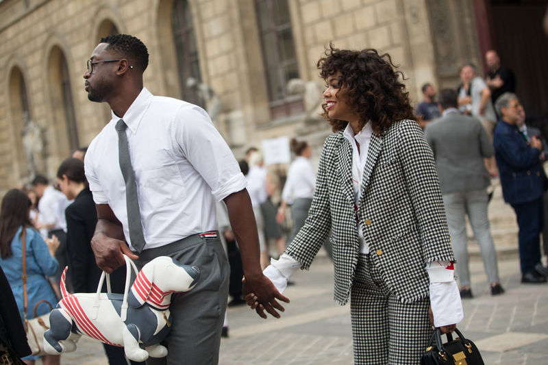 Dwyane Wade, Gabrielle Union wear Thom Browne outside the Thom Browne show on June 25, 2017 in Paris, France. (Photo by Melodie Jeng/Getty Images)