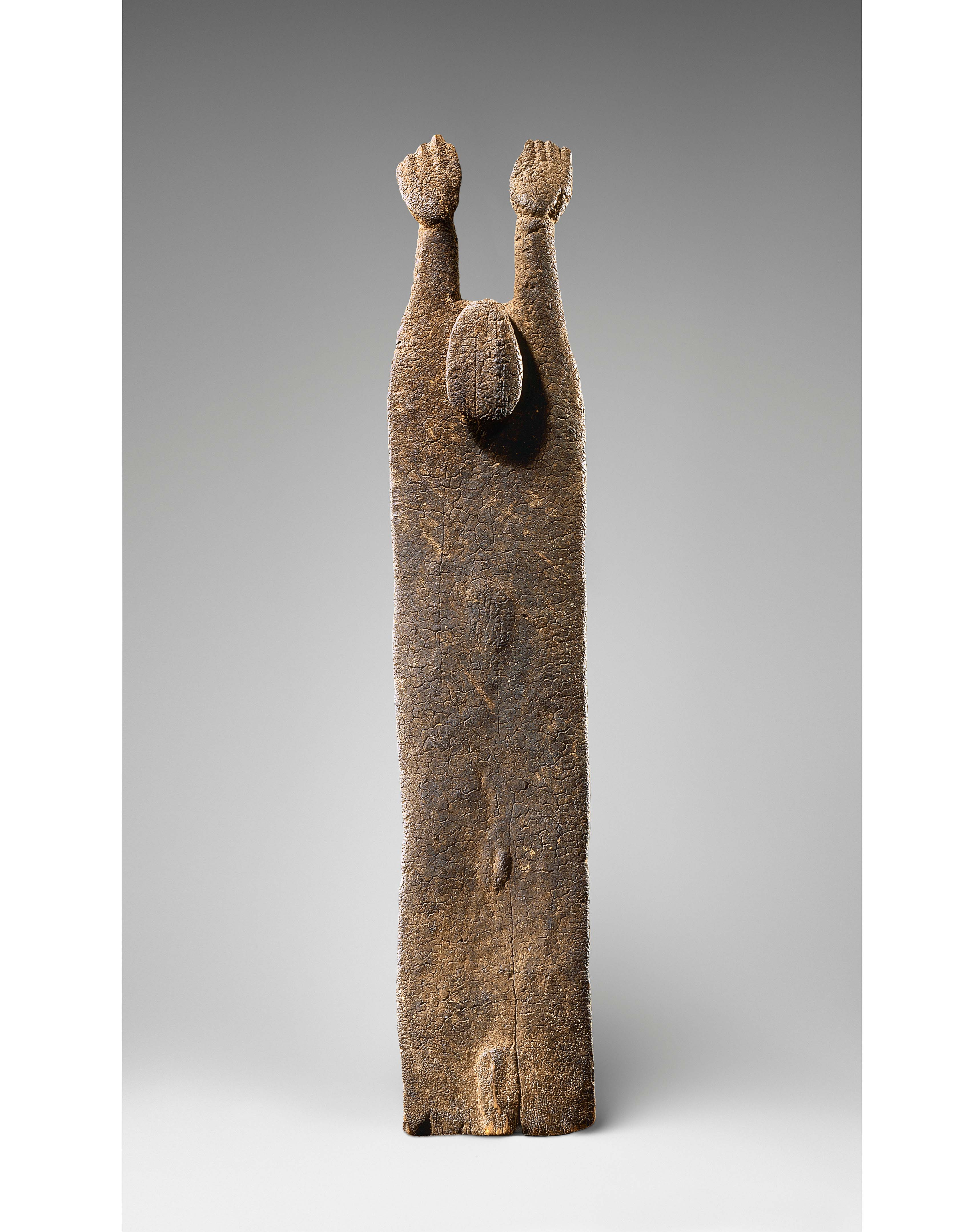 Figure with Raised Arms, Tellem civilization, Ibi, Mali 16th–17th century, Photo credit: © Archives Fondation Dapper—Photo Hughes Dubois