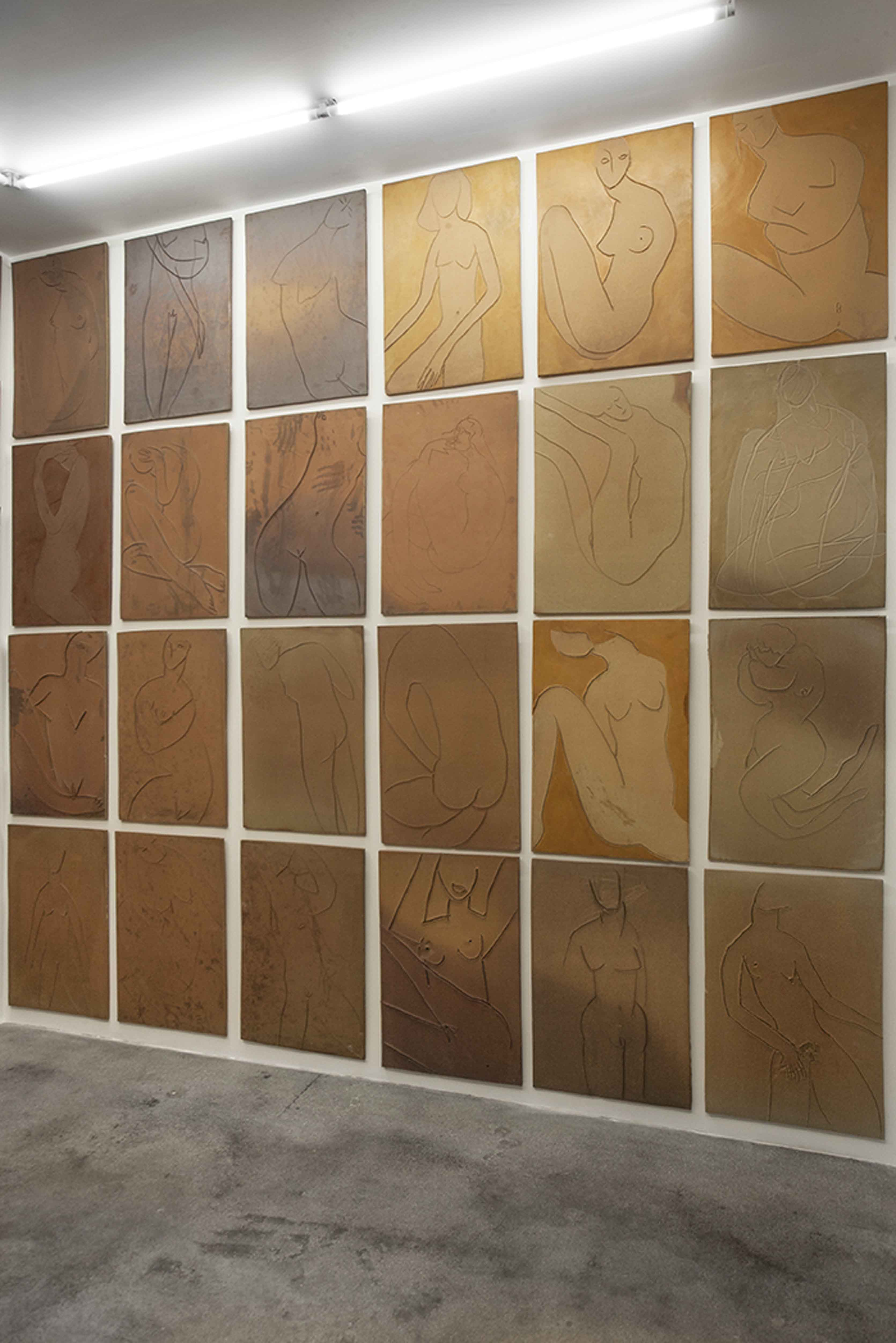 installation view, untitled (slabs, north wall) 2017 pio pico, los angeles courtesy of the artist © vanessa beecroft