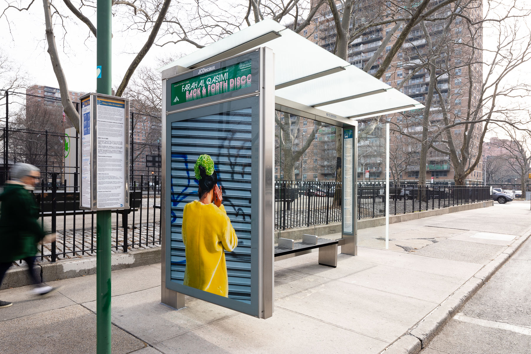 "Farah Al Qasimi, ""Woman on Phone"" (2019). Photo: James Ewing, Courtesy of Public Art Fund, NY.  Photographic work as a part of Back and Forth Disco, presented by Public Art Fund on 100 JCDecaux bus shelters citywide, January 29 – May 17, 2020"
