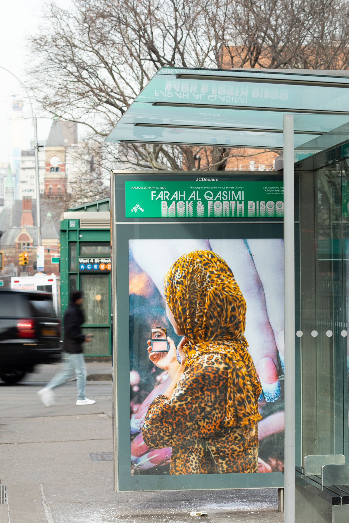 "Farah Al Qasimi, ""Woman in Leopard Print"" (2019). Photo: James Ewing, Courtesy of Public Art Fund, NY.  Photographic work as a part of Back and Forth Disco, presented by Public Art Fund on 100 JCDecaux bus shelters citywide, January 29 – May 17, 2020"