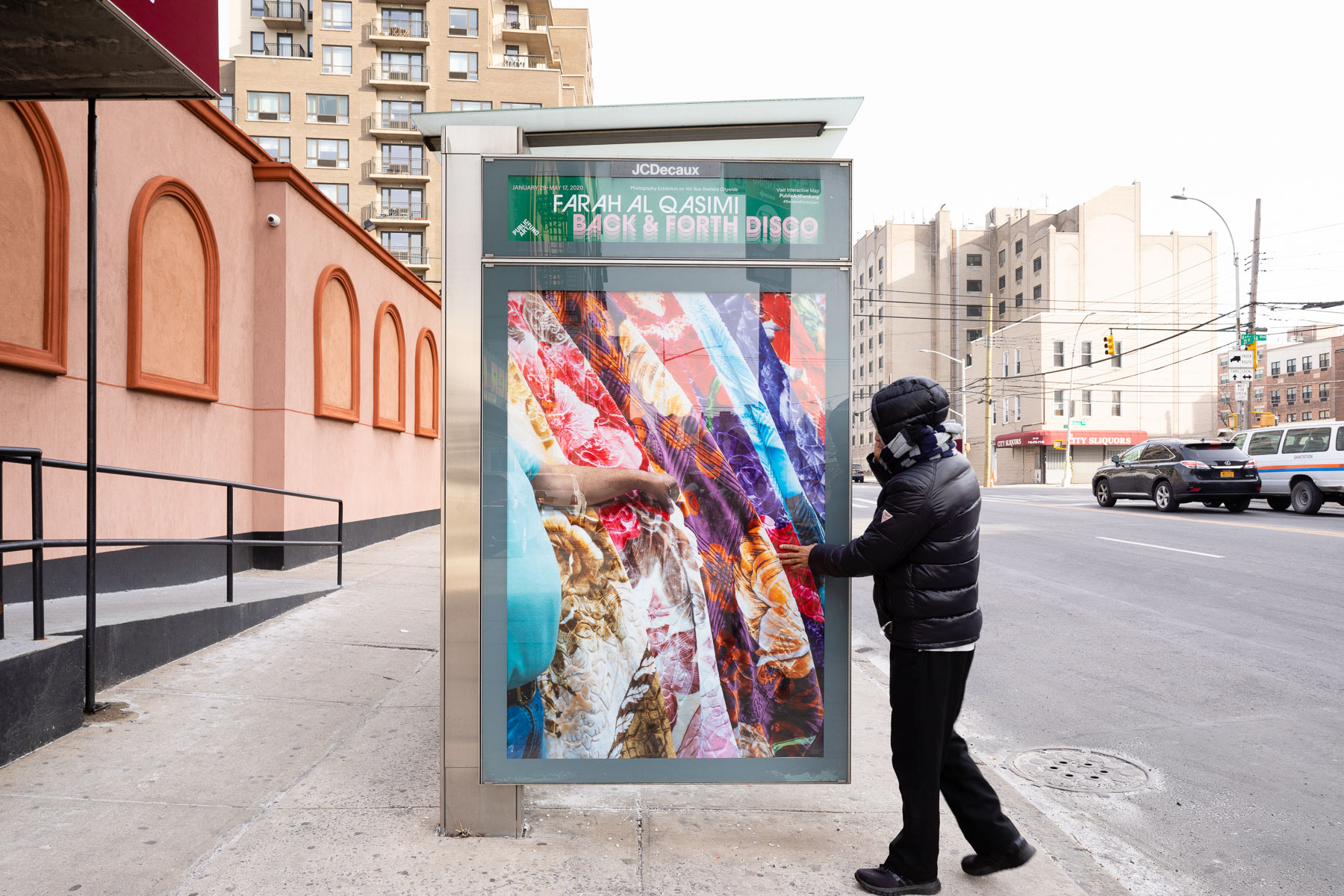 "Farah Al Qasimi, ""Blanket Shop"" (2019). Photo: James Ewing, Courtesy of Public Art Fund, NY.  Photographic work as a part of Back and Forth Disco, presented by Public Art Fund on 100 JCDecaux bus shelters citywide, January 29 – May 17, 2020"
