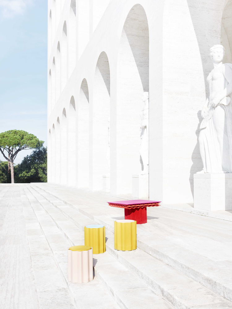 "Fendi featuring Kueng Caputo, ""Roman Molds"" au Palazzo della Civiltà Italiana (2019). Photo : Omar Sartor"