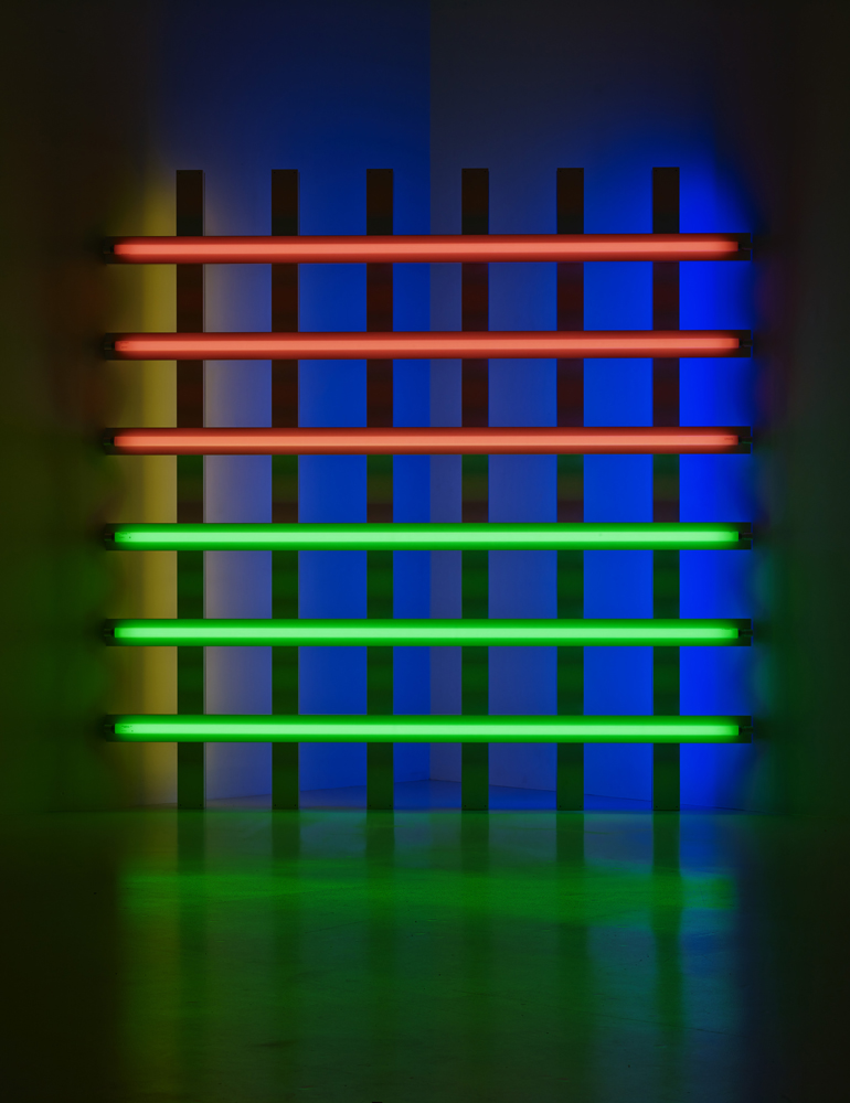 "Dan Flavin ""Untitled"" (for you, Leo, in long respect and affection) 1, 1977 Tubes fluorescents rose, vert, jaune et bleu 244,5 x 244,5 x 18,5 cm"