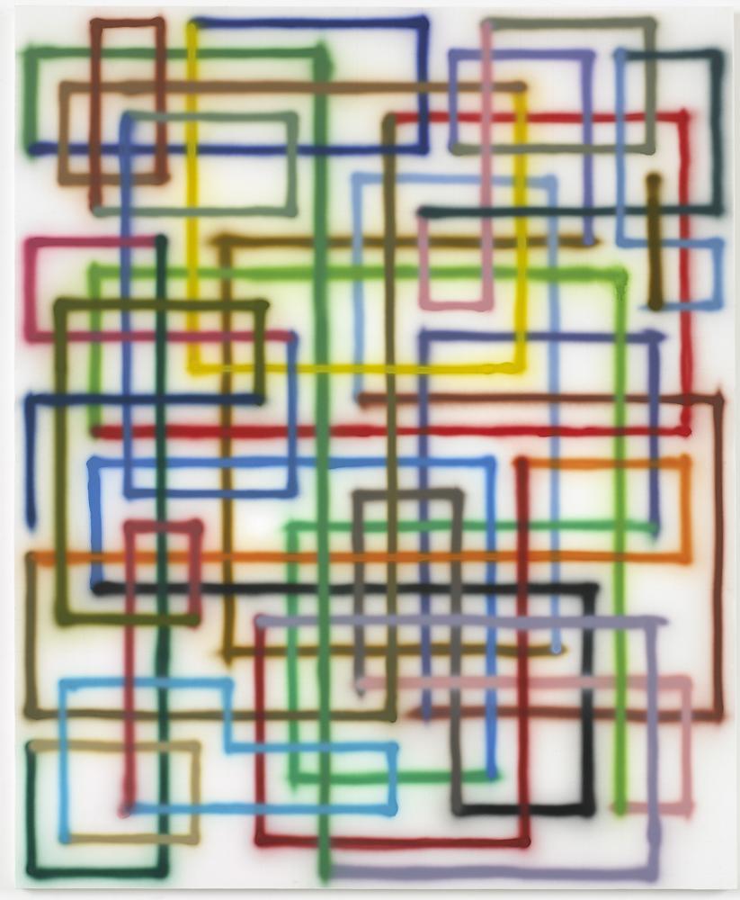 """Bernard Frize """"Fui"""", 2007 Acrylique sur toile 220 x 180 cm"""