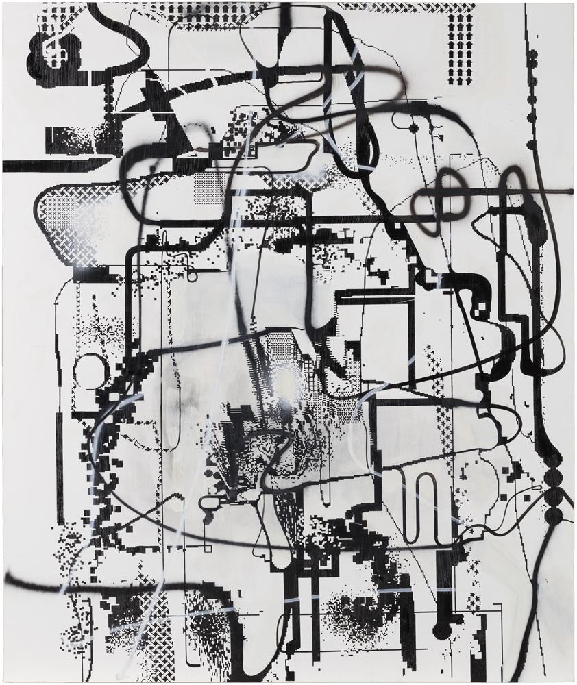 """Albert Oehlen """"Untitled"""", 1992-2005 Acrylique et huile sur toile 250 x 210 cm"""