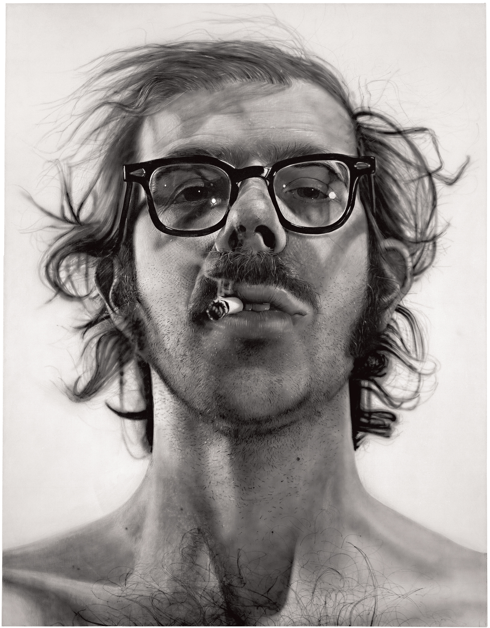 Chuck Close Big Self-Portrait 1967-1968 Acrylic on canvas 107 1⁄2 x 83 1⁄2 inches © Chuck Close, courtesy Pace Gallery