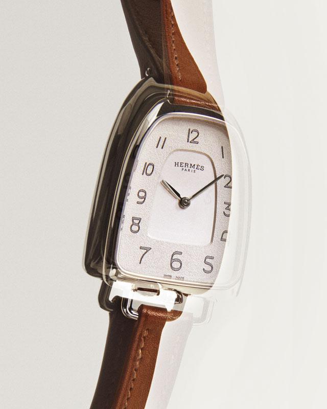 Galop d'Hermès, steel natural barenia strap, Hermès