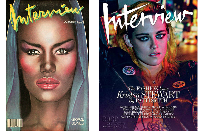 """Interview Magazine"" avec Grace Jones en 1977 – ""Interview Magazine"" avec Kristen Stewart 2015."