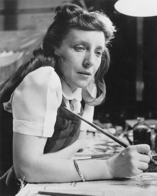 Louise Bourgeois in the studio of her apartment at 142 East 18th Street, New York, circa 1946. © The Easton Foundation / Licensed by VAGA at Artists Rights Society (ARS), New York