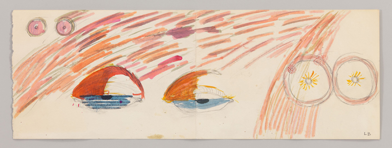 """Louise Bourgeois, """"Untitled"""" (1974). Pencil and watercolor on paper 21.9 x 61.9 cm / 8 5/8 x 24 3/8 in Photo: Christopher Burke"""