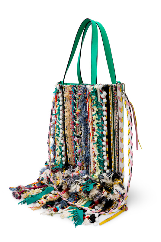 Tote with ribbon embroidery from India