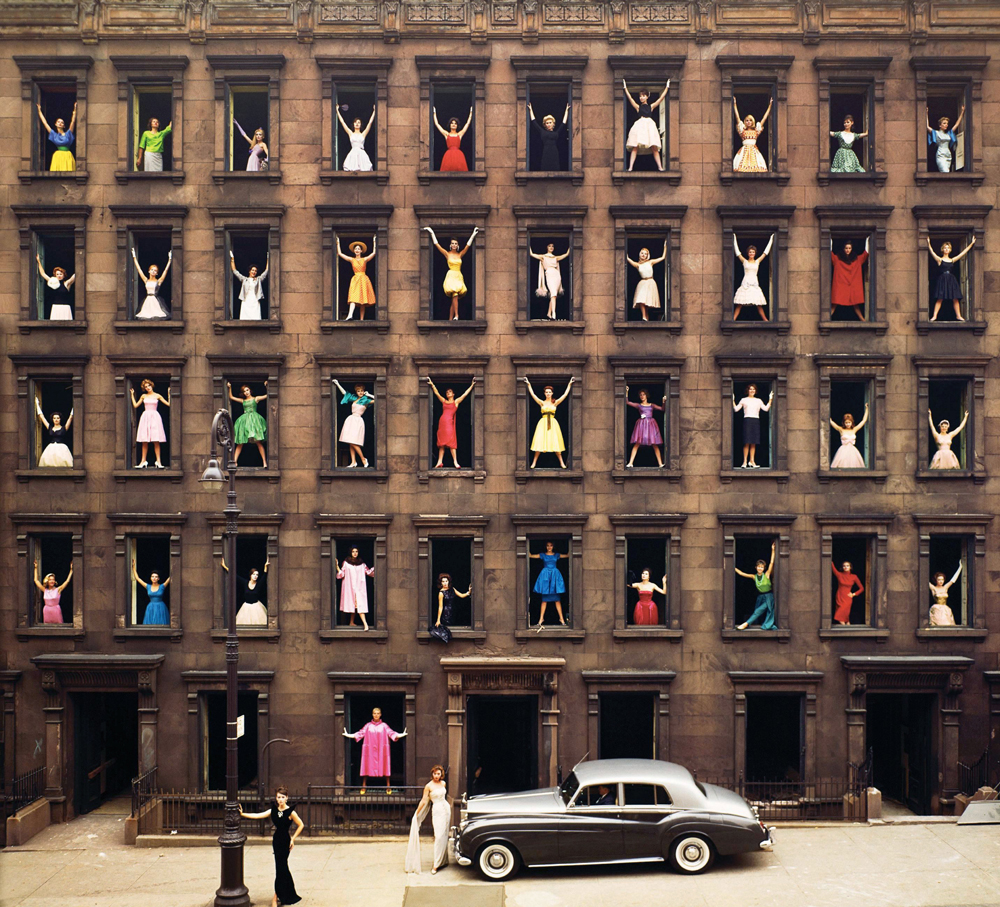 "Ormond Gigli, ""Girls in the Windows"", New York City (1960). Chromogenic print, printed later. 125.7 x 125.7 cm"