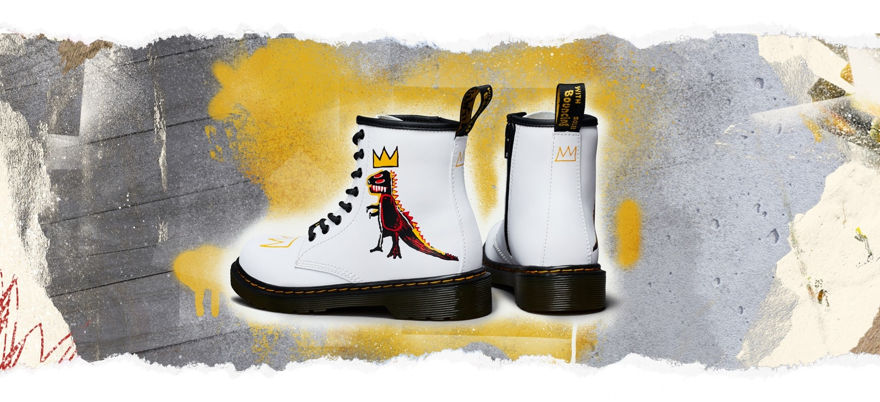 Boots 1460 x Jean-Michel Basquiat, children's edition inspired by