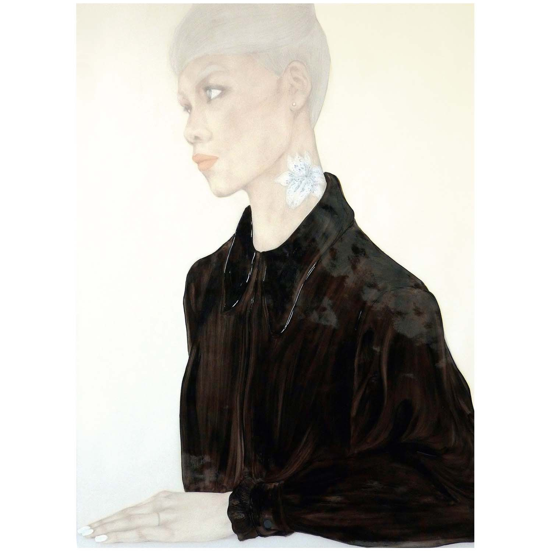 """""""Heart Headed"""" (2014), huile sur papier transparent, 91 x 122 cm. Courtesy of the artist."""