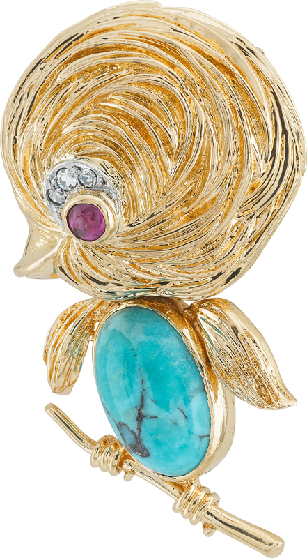 Clip Oisillon (1960). Platine, or jaune, rubis, turquoise, diamants. Courtesy of Van Cleef & Arpels