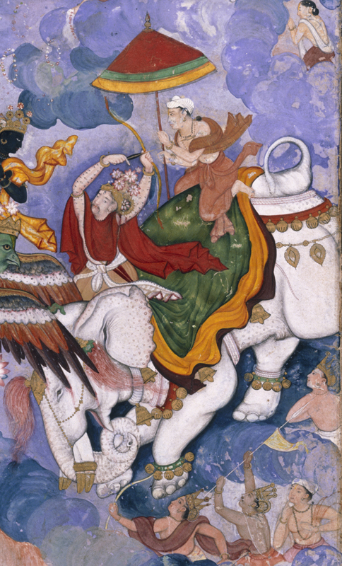 'Krishna and Indra', about 1590, Lahore, watercolour painting and gold on paper (c) Victoria and Albert Museum, London