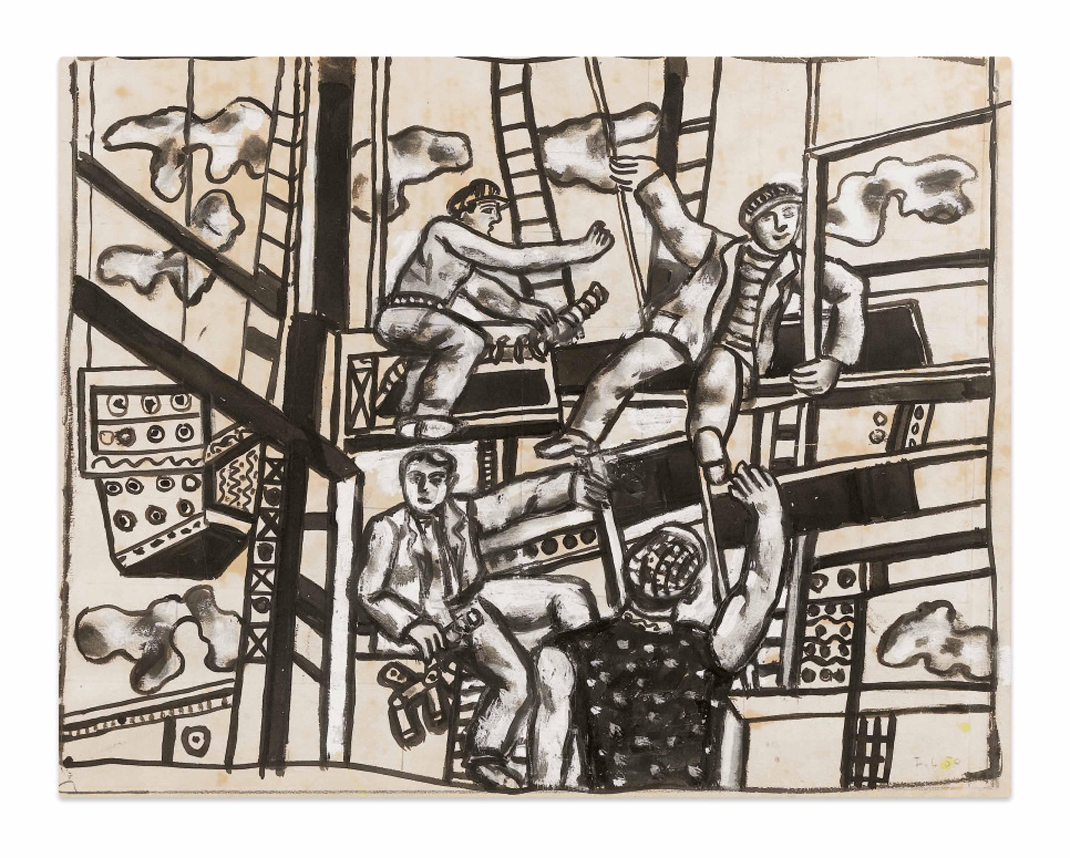 Fernand Léger, ETUDE POUR LES CONSTRUCTEURS , 1950 India ink and gouache on paper 50,6 x 63,1 cm; 19 7/8 x 24 7/8 in