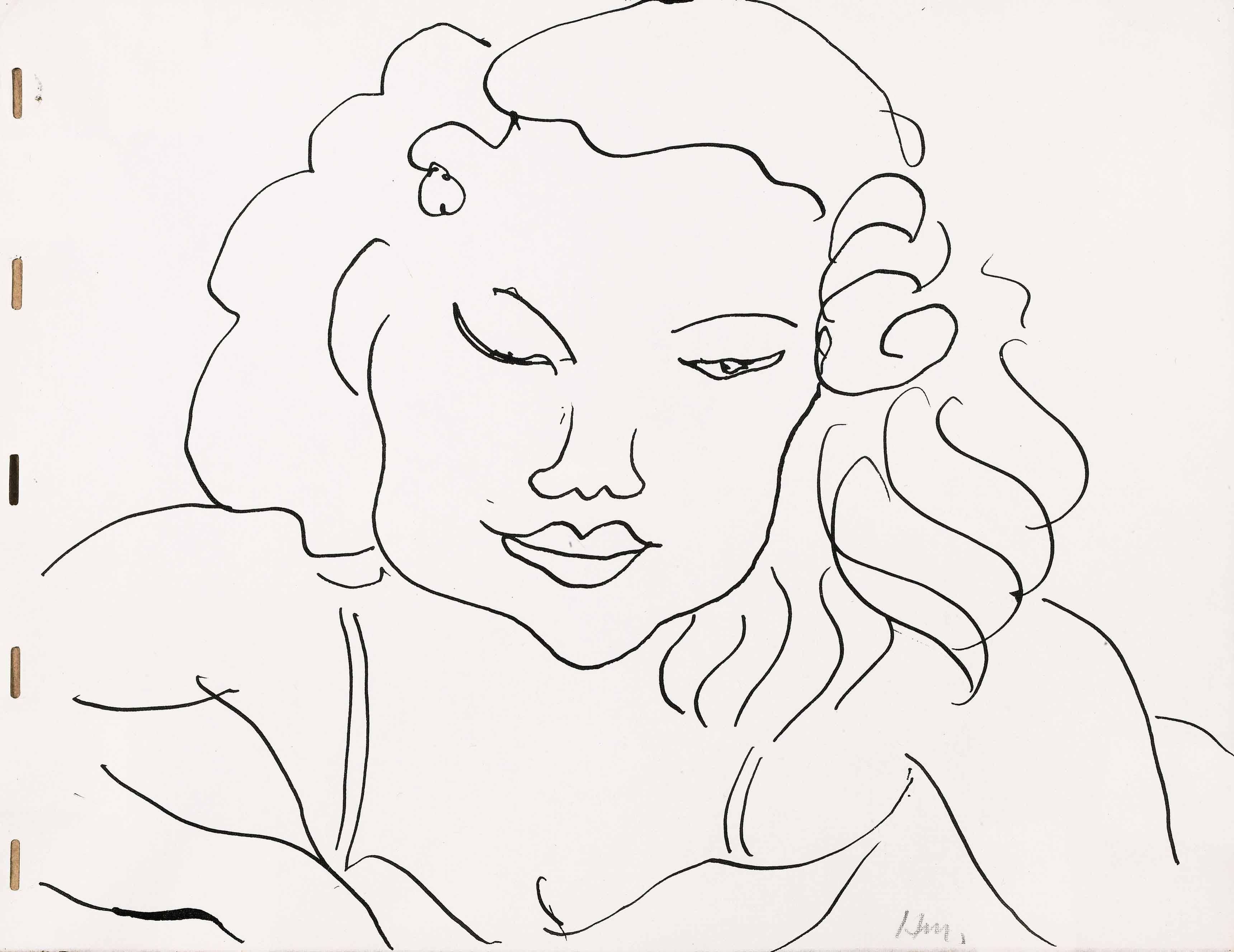 HENRI MATISSE PORTRAIT OF A WOMAN OR THE WINK Estimate : 40,000 - 60,000 EUR