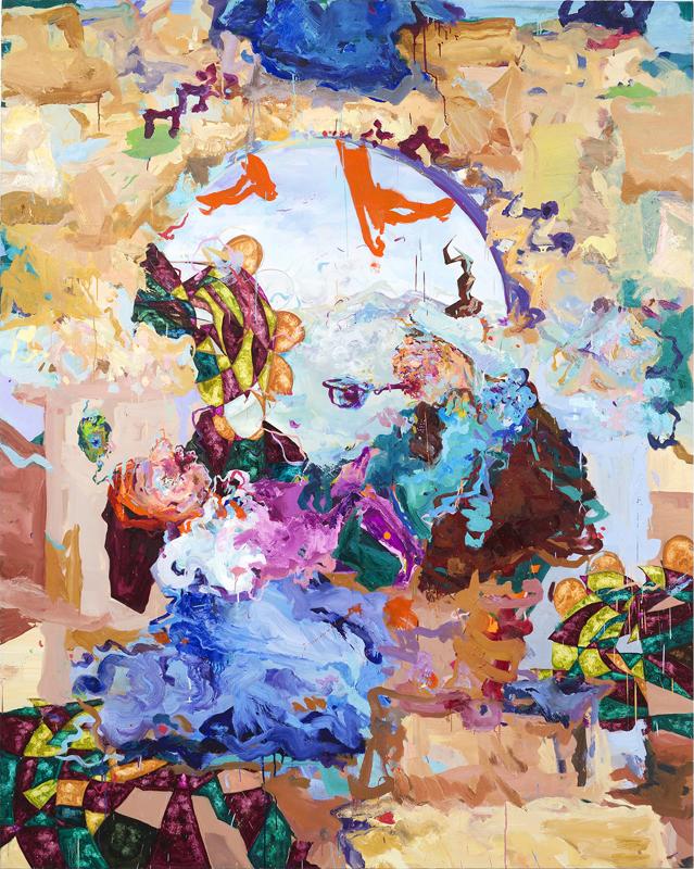 Miryam Haddad, La Chute, 2018. Huile sur toile, 250 × 200 cm. Courtesy de l'artiste et Art:Concept, Paris.© Miryam Haddad. Photo © Claire Dorn.