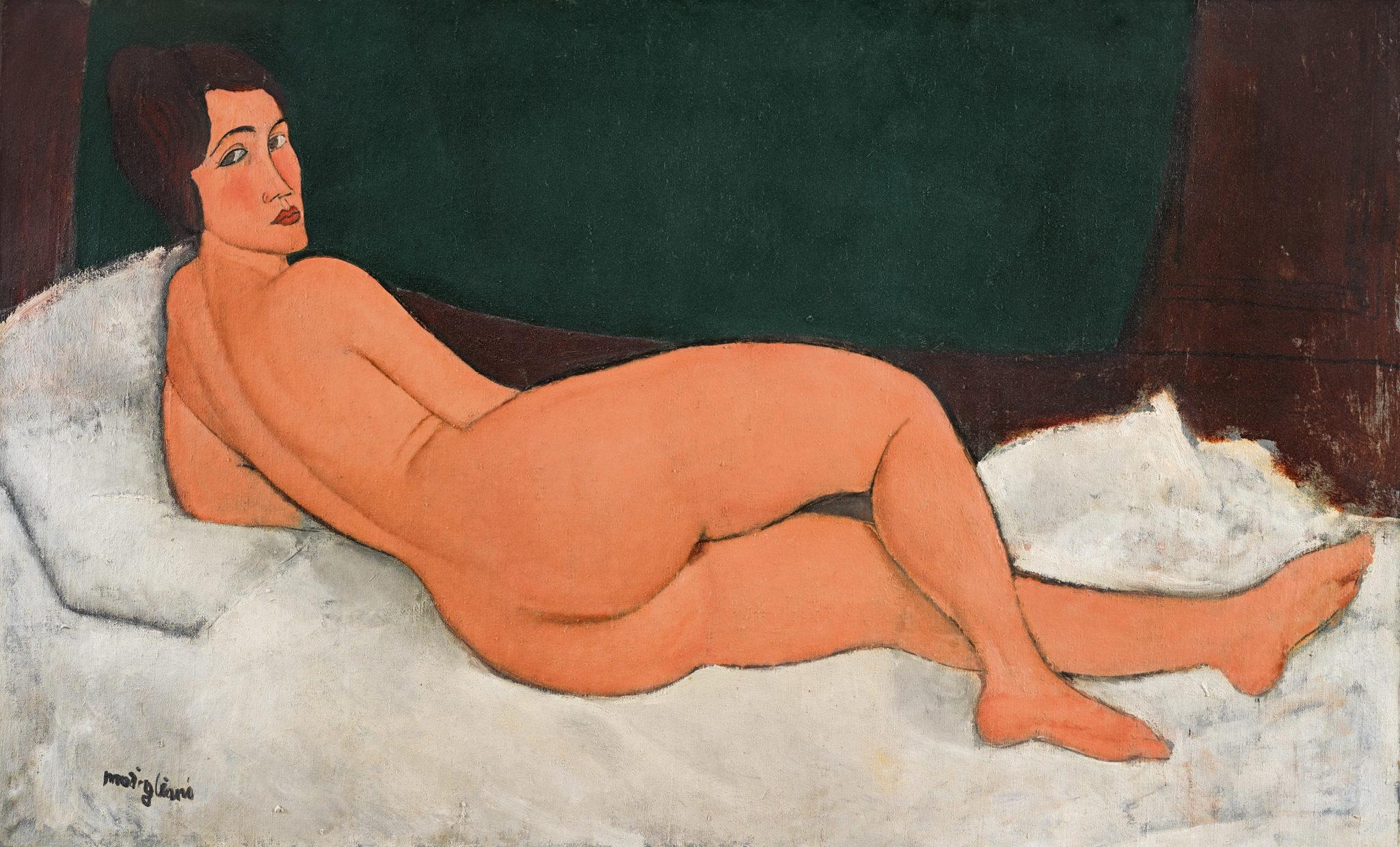 """4) """"Nu couché"""" (1917) d'Amadeo Modigliani a été adjugé 157,2 millions de dollars en mai 2018 chez Sotheby's."""