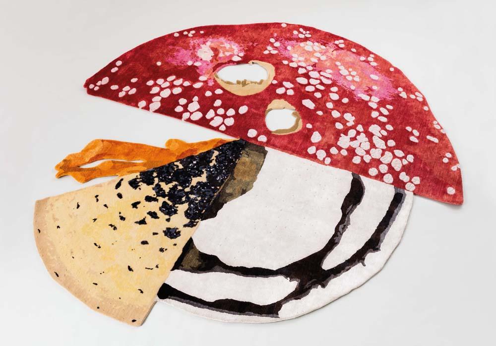 Mushroom Carpet, Carsten Höller, 2018, bamboo silk and New Zealand wool. Par Massimo de Carlo. Photo par Andrea Rossetti .