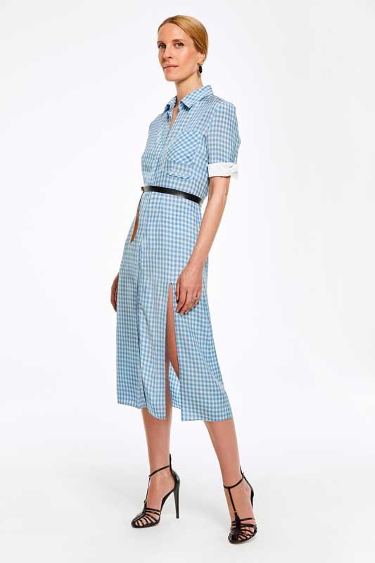 La robe à carreaux de Vanessa Traina, styliste et consultante.