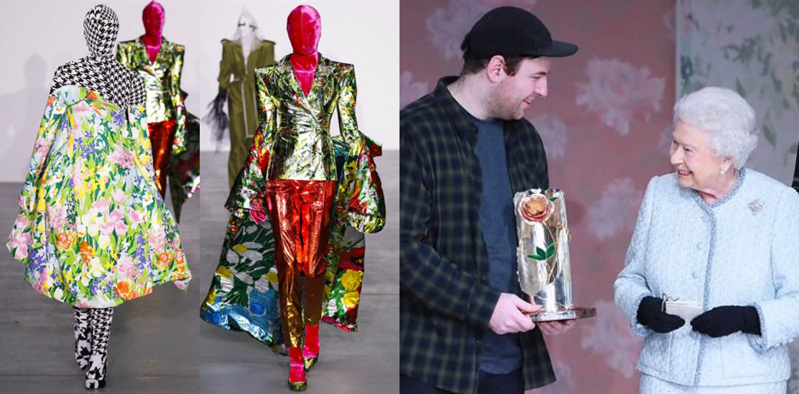 La première collection de Richard Quinn. Le designer et la Reine Elizabeth II.