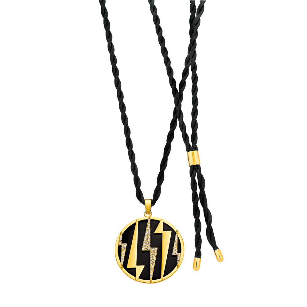 Pendentif ZEUS en or jaune 18KT serti de diamants et onyx, ZOLOTAS