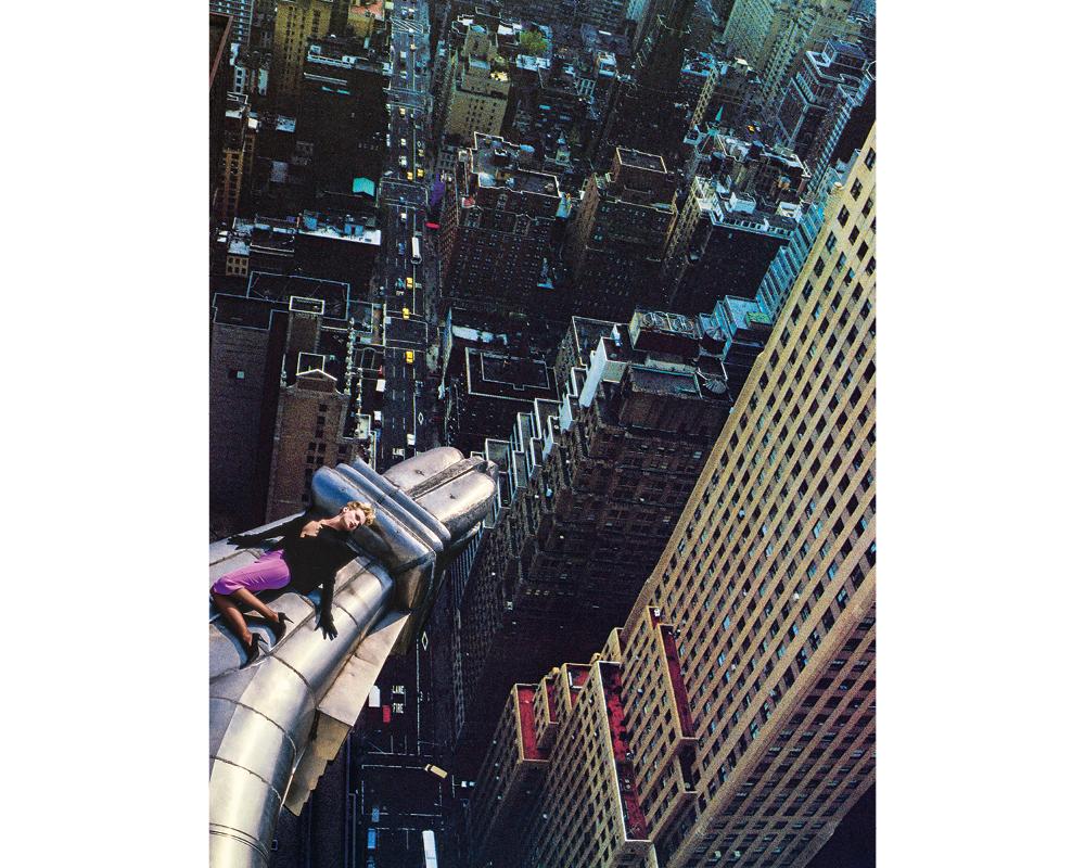 """CHRYSLER BUILDING (NEW YORK - ETATS-UNIS), 1988. Claude Heidemeyer en """"Vertigo"""" de Mugler."""