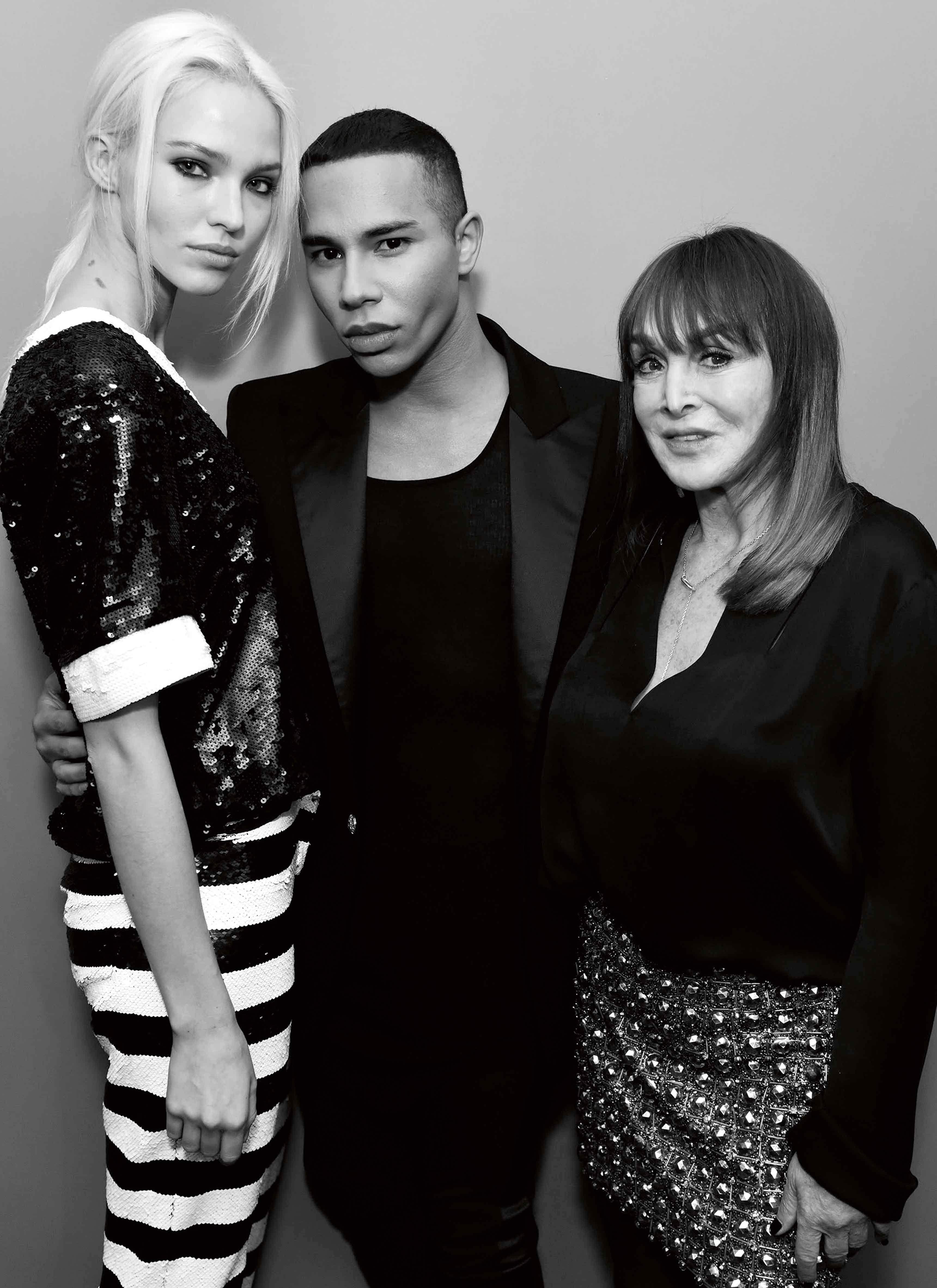 Sasha Luss, Olivier Rousteing et Babeth Djian