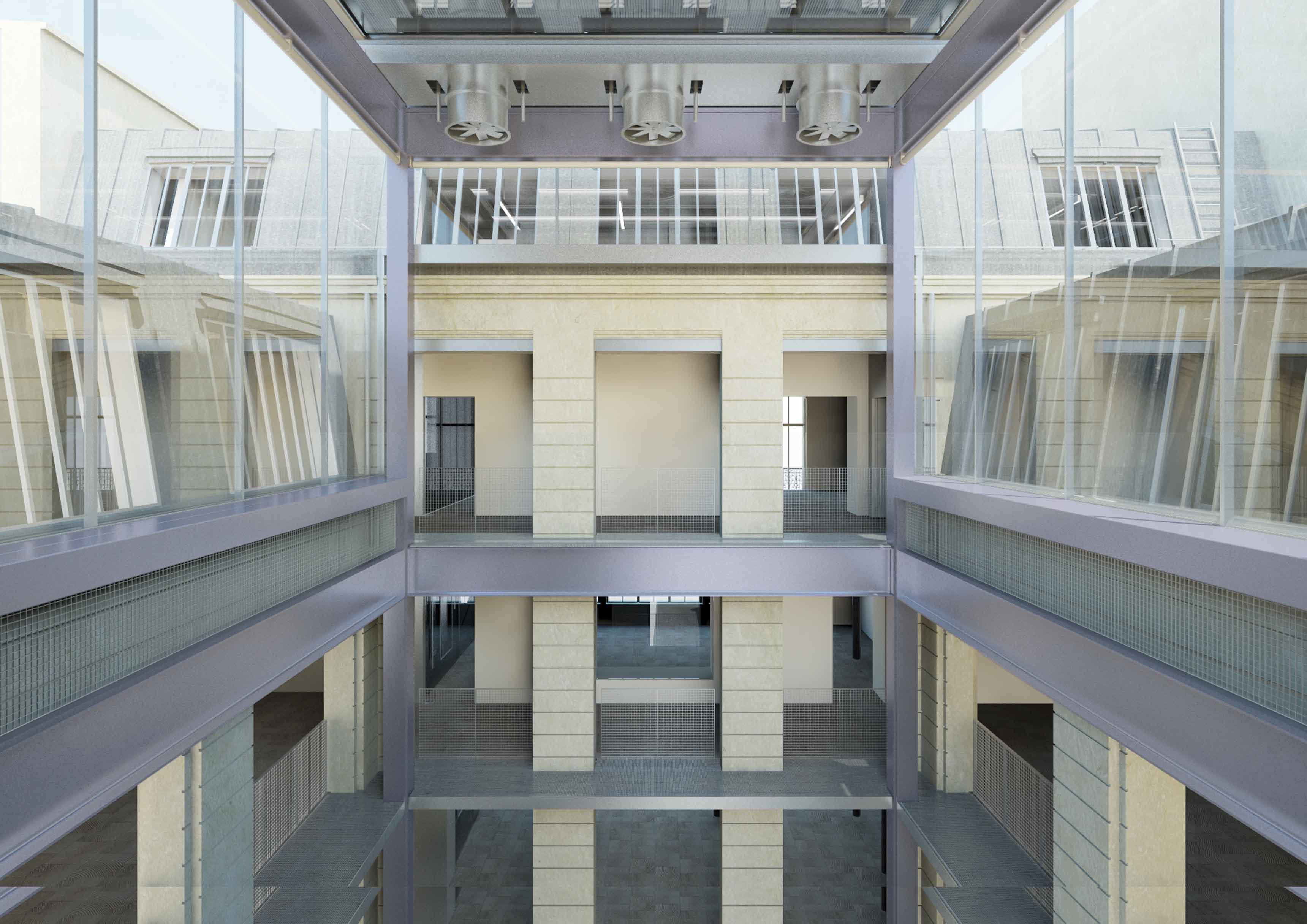 Tour d'exposition sans plancher mobile (une des 49 configurations possibles de la machine curatoriale). Copyright : OMA / Fondation d'entreprise Galeries Lafayette