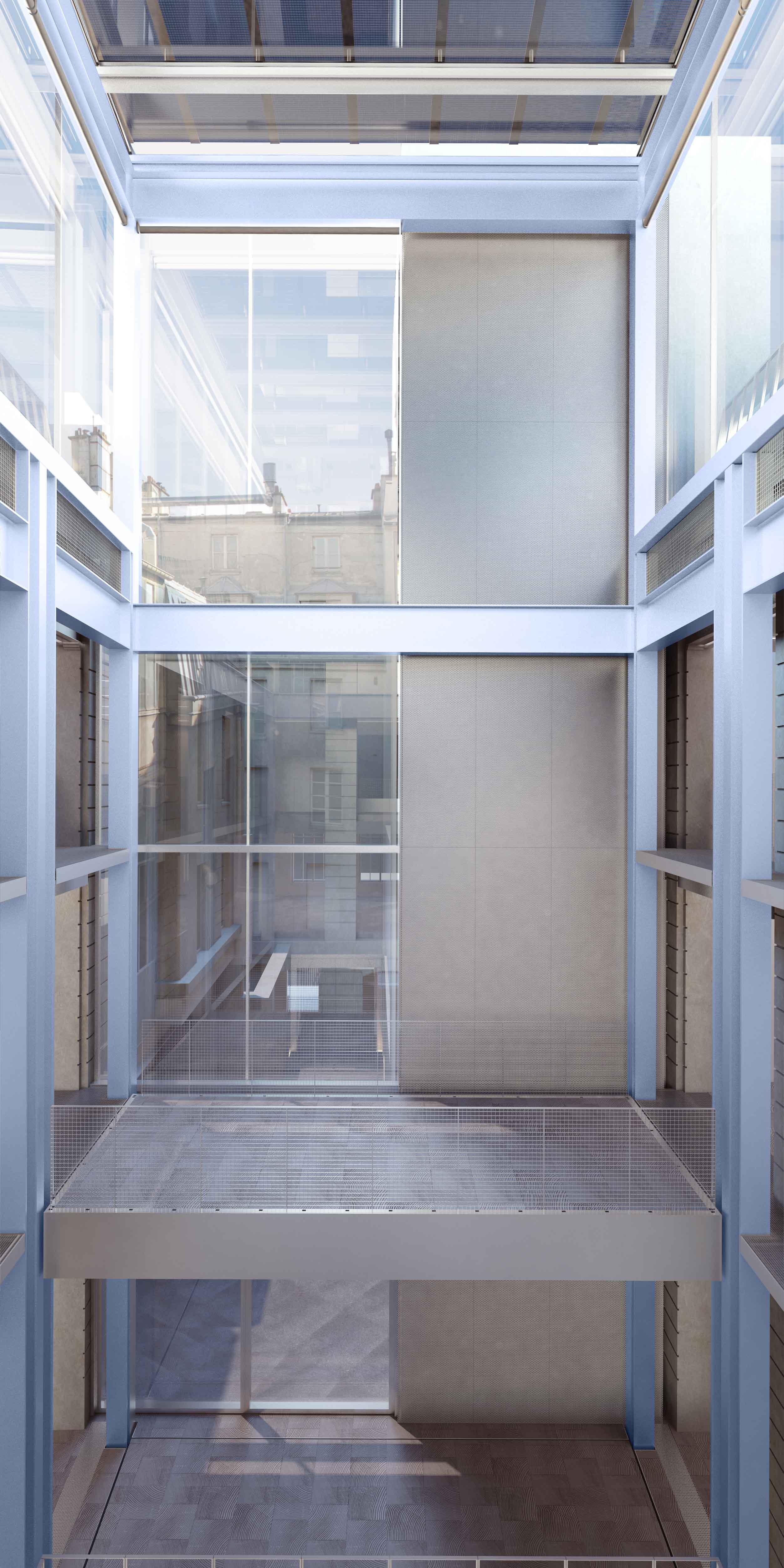 Tour d'exposition avec planchers mobiles (une des 49 configurations possibles de la machine curatoriale). Copyright : OMA / Fondation d'entreprise Galeries Lafayette
